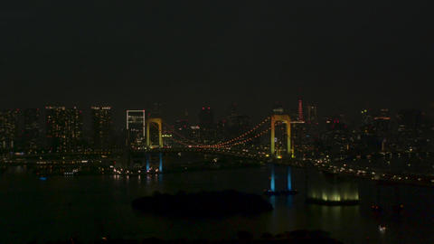 Night view of Tokyo viewed from Odaiba Zoom in Aerial Live Action