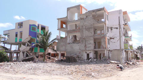 Buildings Destroyed By The Powerful Earthquake Footage