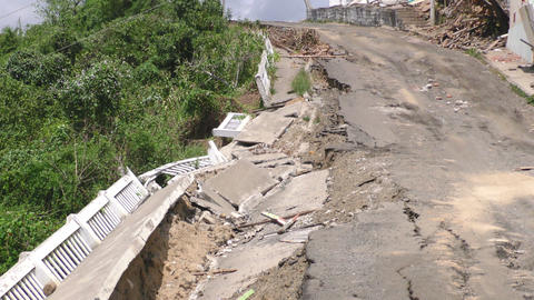 Rural Road Affected By The Earthquake Live Action