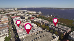 Aerial of Downtown Charleston, South Carolina GPS Markers Stock Video Footage