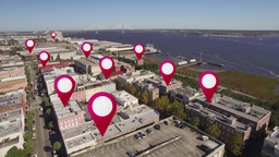 Aerial of Downtown Charleston, South Carolina GPS Markers Footage