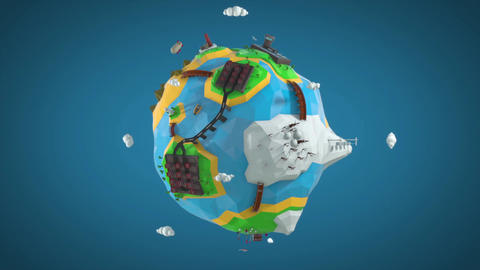 Low Poly Earth Loop stock footage
