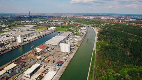4K Aerial Over Harbor Industry And River In The Background At Beautiful Sunshine stock footage