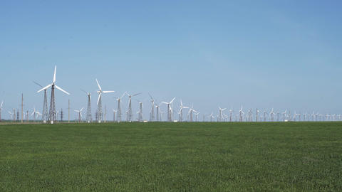 Wind Turbines Generating Green Energy Footage