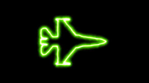 The appearance of the green neon symbol fighter jet. Flicker, In - Out. Alpha Animation