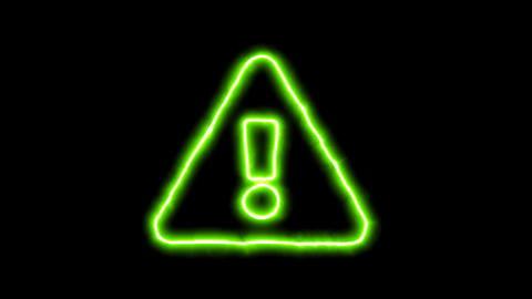 The appearance of the green neon symbol exclamation triangle. Flicker, In - Out. Animation