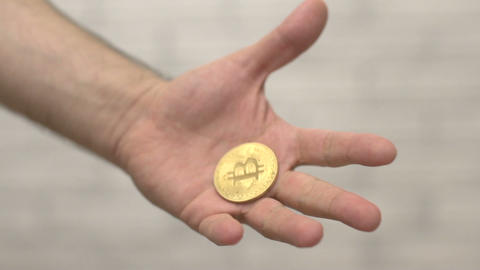 bitcoin coin in hand Stock Video Footage