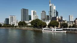 Beautiful view of Frankfurt am Main skyline at Summer day, Germany GIF