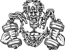 Buffed Athlete Dumbbells Breaking Free From Chains Drawing Vector