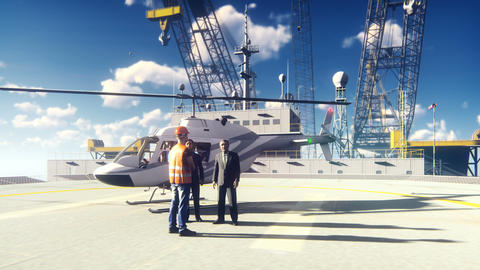 Oil Businessman And Foreman talking at an Oil offshore Platform In the Sea near Animation