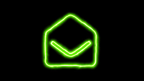 The appearance of the green neon symbol envelope open. Flicker, In - Out. Alpha CG動画