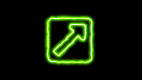 The appearance of the green neon symbol external link square. Flicker, In - Out. Animation