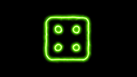 The appearance of the green neon symbol dice four. Flicker, In - Out. Alpha Animation