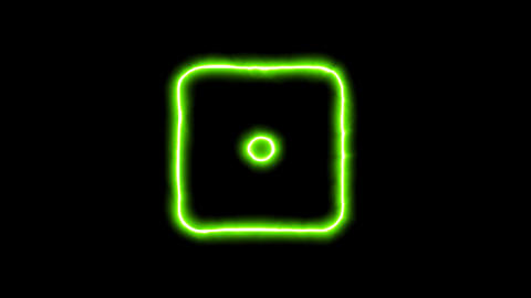 The appearance of the green neon symbol dice one. Flicker, In - Out. Alpha Animation