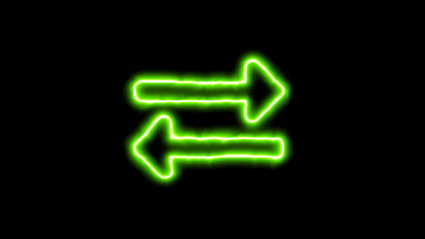 The appearance of the green neon symbol exchange. Flicker, In - Out. Alpha Animation