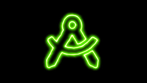 The appearance of the green neon symbol drafting compass. Flicker, In - Out. Animation