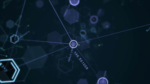 Abstract futuristic hexagon, dot circle and line network structure with random Animation