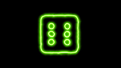 The appearance of the green neon symbol dice six. Flicker, In - Out. Alpha Animation