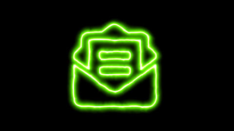 The appearance of the green neon symbol envelope open text. Flicker, In - Out. CG動画