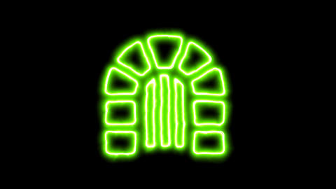 The appearance of the green neon symbol dungeon. Flicker, In - Out. Alpha Animation