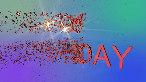 Animation - Word Happy Birthday explode With Optical Flares Animation