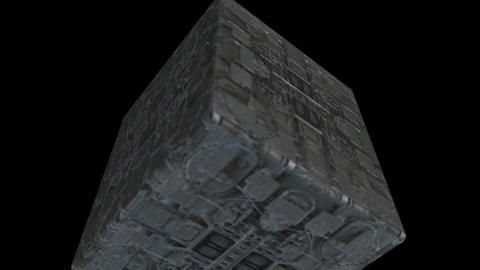 Animation - Flying Cube with sci-fi texture with alpha channel Animation