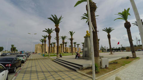 Monument to Monument to Habib Bourguibe in Monastir. Tunisia. 4K Live Action