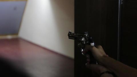 The Girl Shoots Revolver Gun Footage