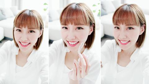 woman selfie with teeth brace Live影片
