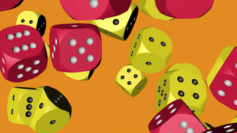 Red and Yellow Dice Collided Animation