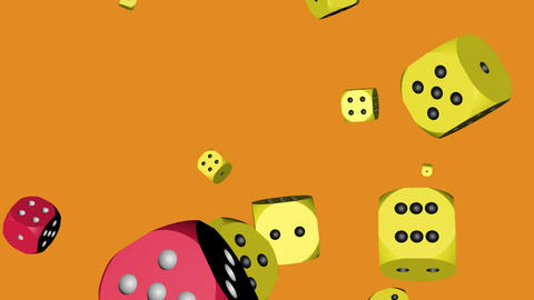 Red and Yellow Dice Collided Stock Video Footage