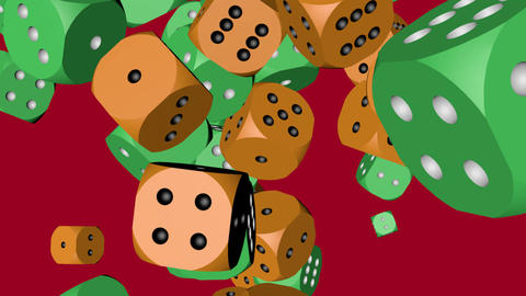 Green and Orange Color Dice Collided Animation