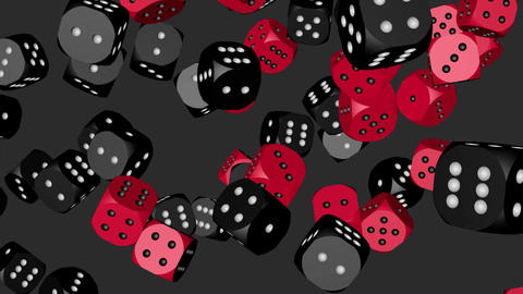 Red and Black Color Dice Collided Animation