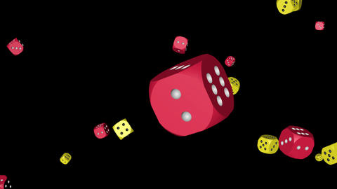 Red and Yellow Color Dice Collided, Stock Animation