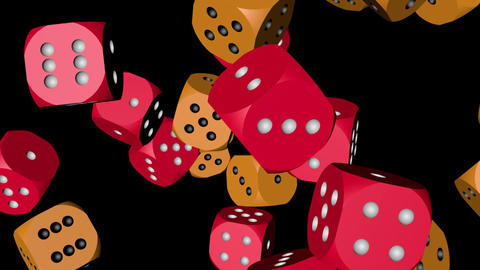 Red and Orange Color Dice Collided, Stock Animation