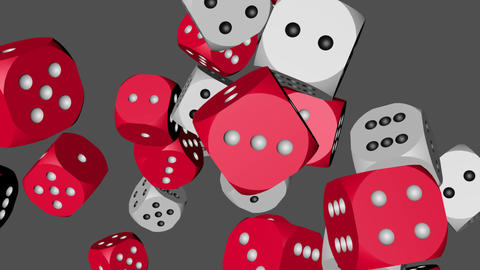 Red and White Color Dice Collided Animation