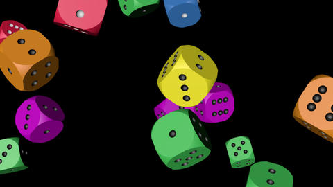 Rainbow Color Dice Collided Stock Video Footage