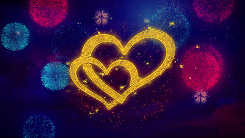 Heart shape Love Valentines Day Greeting Text Sparkle Particles on Colored GIF