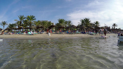 Beach in Monastir City. Resort Spa in Tunisia. 4K GIF