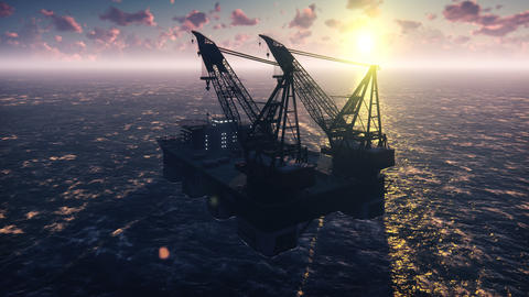 Oil platform, offshore platform, or offshore drilling rig in sea at sunset Animation