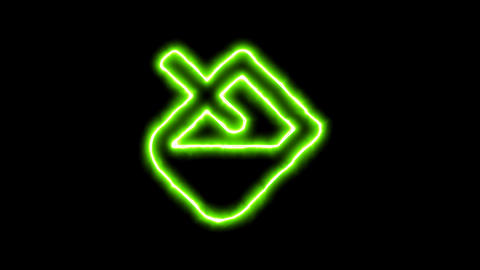 The appearance of the green neon symbol fill. Flicker, In - Out. Alpha channel Animation