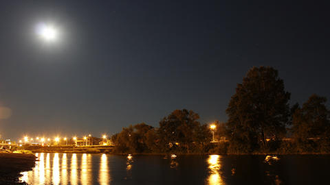 River At Night. Moon Over River Footage
