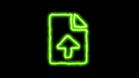 The appearance of the green neon symbol file upload. Flicker, In - Out. Alpha Animation