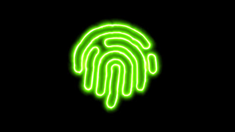 The appearance of the green neon symbol fingerprint. Flicker, In - Out. Alpha Animation