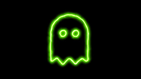 The appearance of the green neon symbol ghost. Flicker, In - Out. Alpha channel Animation