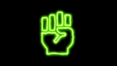The appearance of the green neon symbol fist raised. Flicker, In - Out. Alpha Animation
