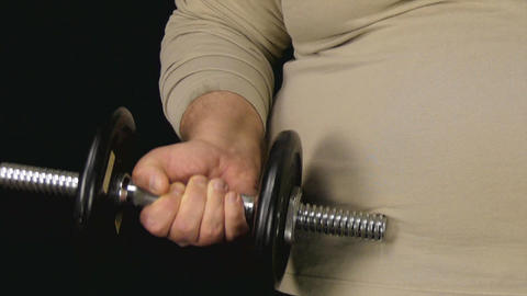 Fat Man Lifts Tiny Dumbbell Live Action