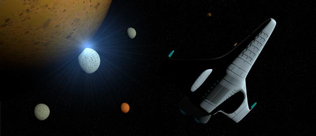 Fantasy scene: White spaceship with turbine lit across the galaxy with planets Photo
