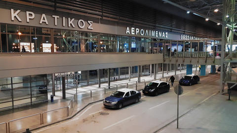 Parked taxis at the entrance of Thessaloniki, Greece SKG airport GIF