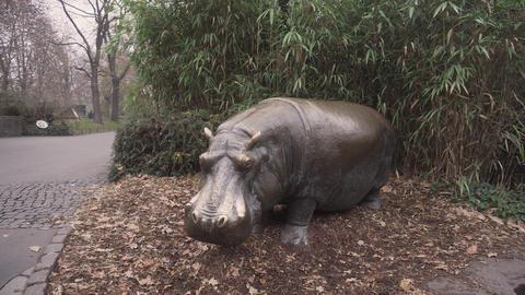 BERLIN, GERMANY - NOV 23, 2018: Statue of hippopotamus in the Berlin zoo Footage